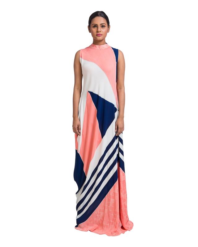Geometric Hand Painted Asymmetrical Dress