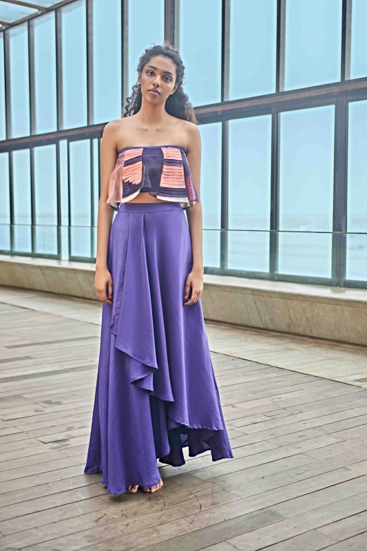 Off-shoulder organza top with a draped skirt