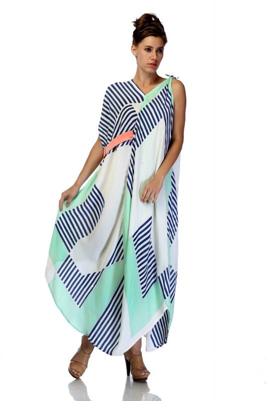 Asymmetrical Draped Tie Up Dress
