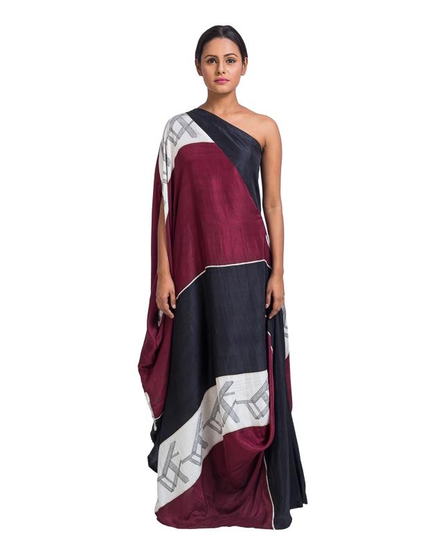 One Shoulder Block Printed Draped Dress