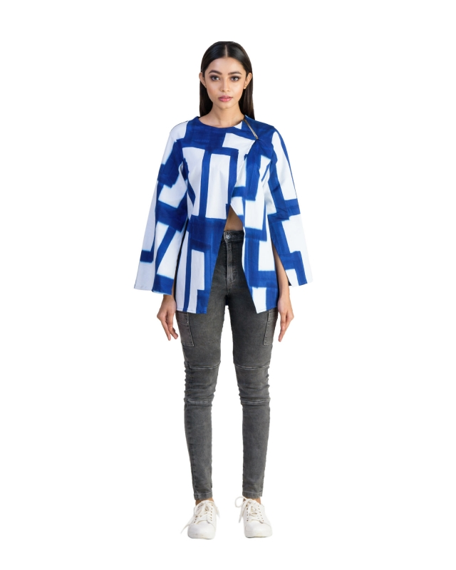 OVERLAPPED FRONT ZIPPED SHOULDER CUT OUT SLEEVE JACKET