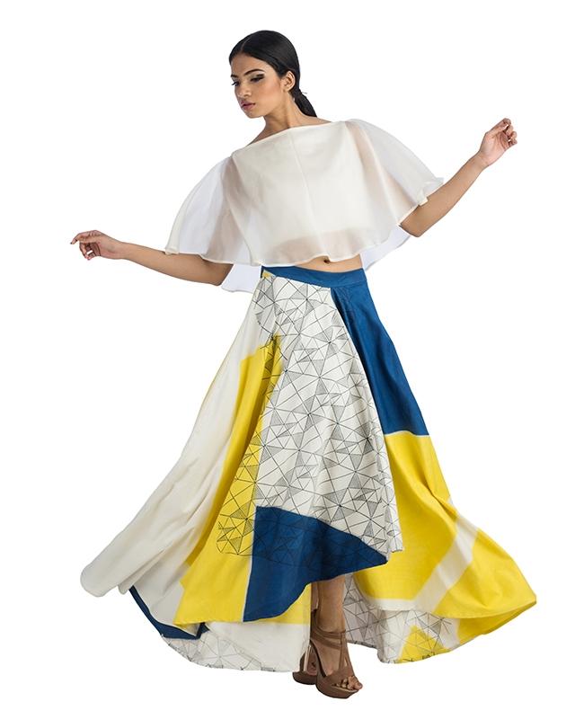 Flared Crop Top And Assymetrical Hemline Skirt