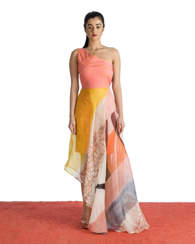 One Shoulder Organza Dress