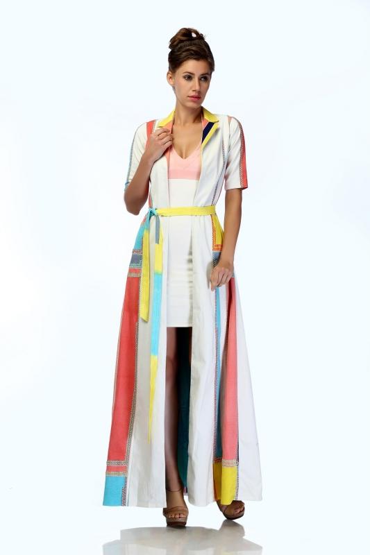 Embroidered Maxi Jacket & Bodycon Dress Set