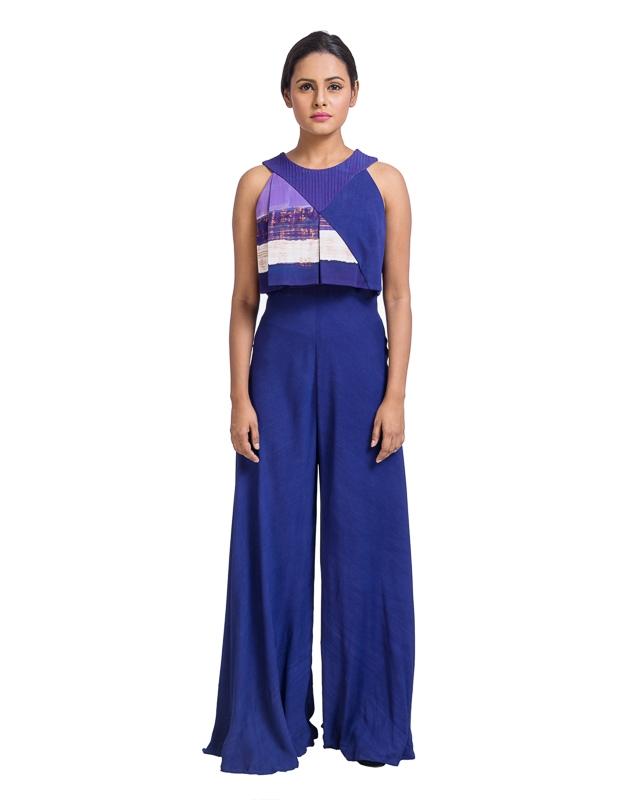 Sleeveless Jumpsuit with Block Print