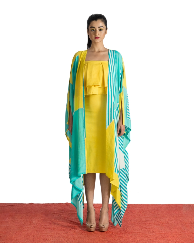 Ruffled Dress & Asymmetrical Jacket Set