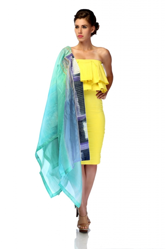 Pleated Organza Embroidered Jacket & Yellow Bodycon Dress