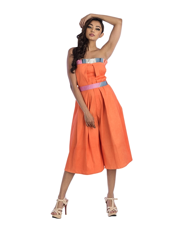 Midi Length Tube Jumpsuit With A Belt
