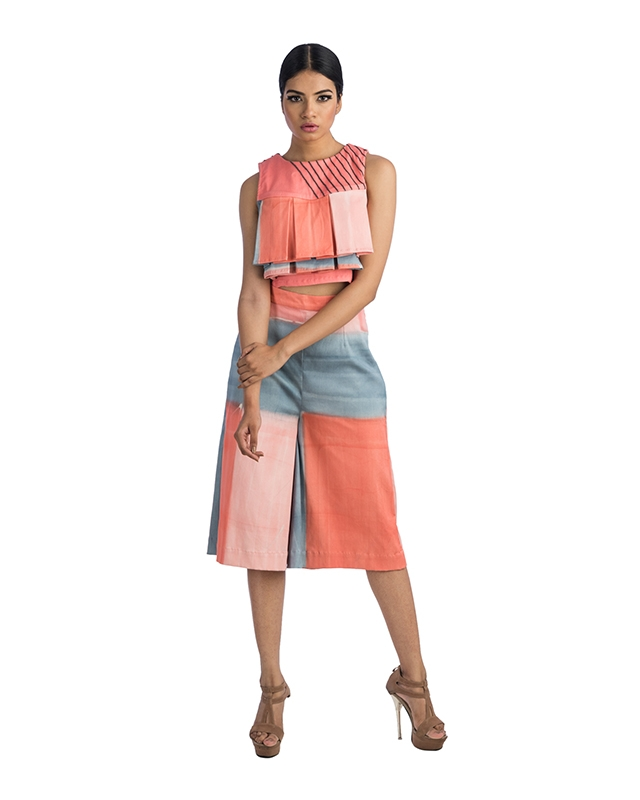 Box Pleated Sleeveless Crop Top And Pant