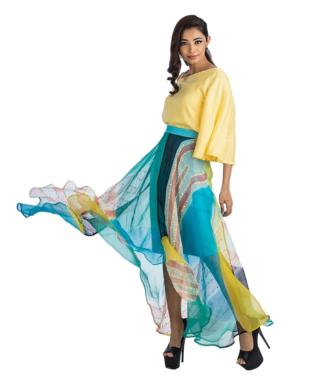 Yellow Solid Top And Assymetrical Hemline Organza Skirt