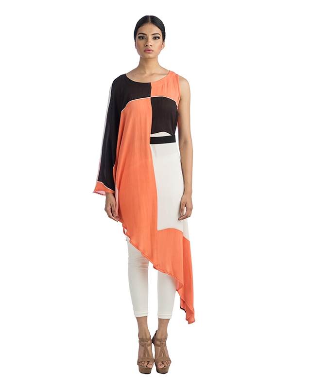 Asymmetrical Long Top With One - Sided Belt